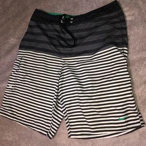 Black and White Striped Nike Swim Shorts